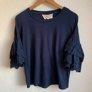 Nordstrom Hiatus Embroidered Ruffle Sleeve Top